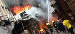 Lagos state fire service battling the fire at Balogun Market