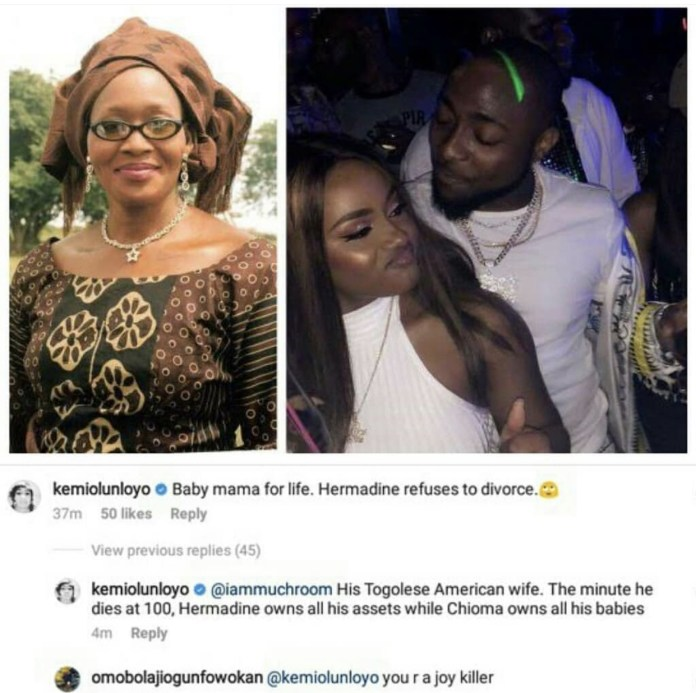 5B0519FA 1C10 4EB8 A4CA D2F30EAD4CB1 - Controversial Journalist, Kemi Olunloyo Reminds Chioma of Davido's Alleged First Wife, Hermadine