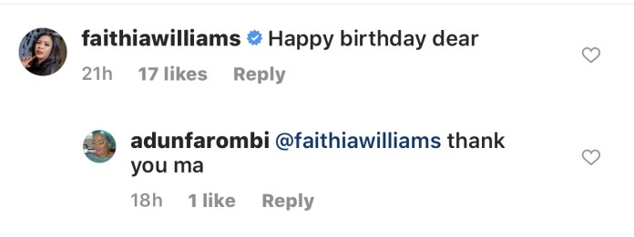 Fathia Williams' birthday wish to Adun