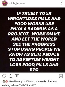 Screenshot 20200224 165659 Instagram - Eniola Badmus Challenges Companies Selling Weight Loss Products To Make Her Their Ambassador