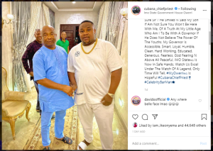di 1 - Anywhere Belle Face – Davido Mocks Cubana Chiefpriest For Hanging With Hope Uzodinma