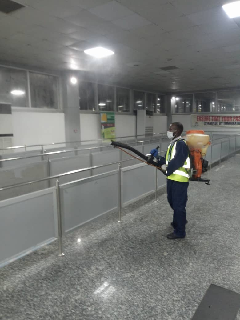 Lagos Disinfects Bustops, International Airport, Motorparks (Video)