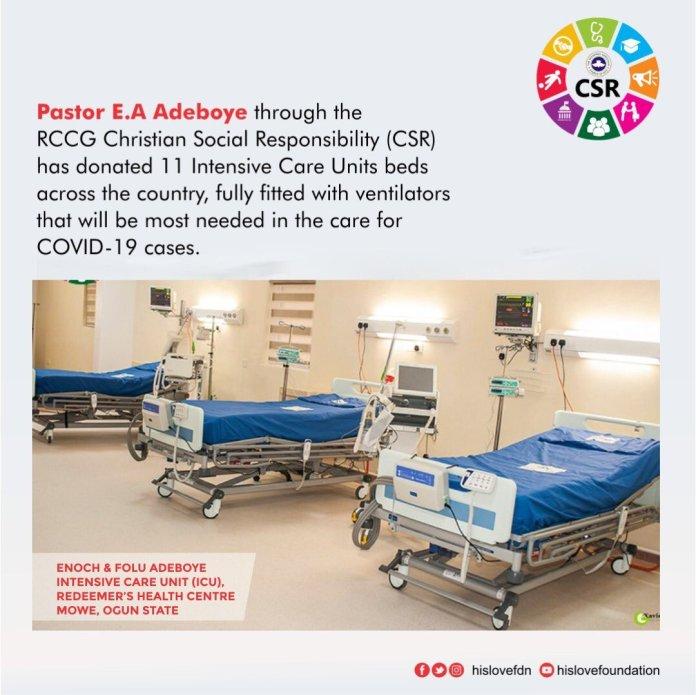 Pastor Adeboye Donates ICU Beds, Ventilators To Lagos, Others