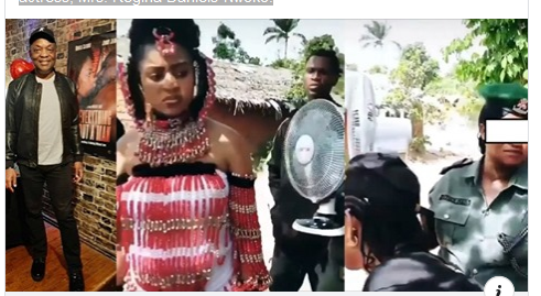 DJ Abass Reacts To Video Of Police Woman Holding A Fan For Regina Daniels
