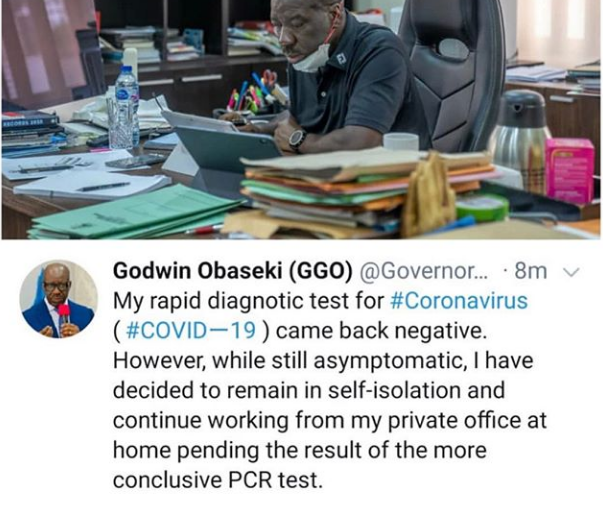 Governor Obaseki Tests Negative For Coronavirus