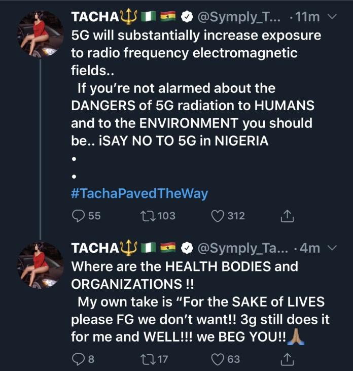 Tacha's tweet