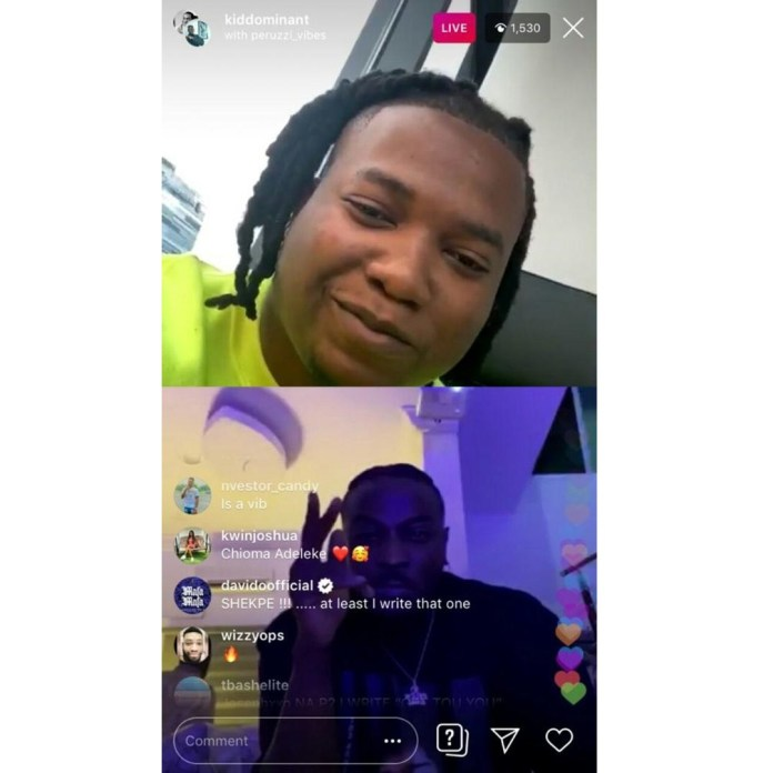 Screenshot of the singer's comment on the IG live session
