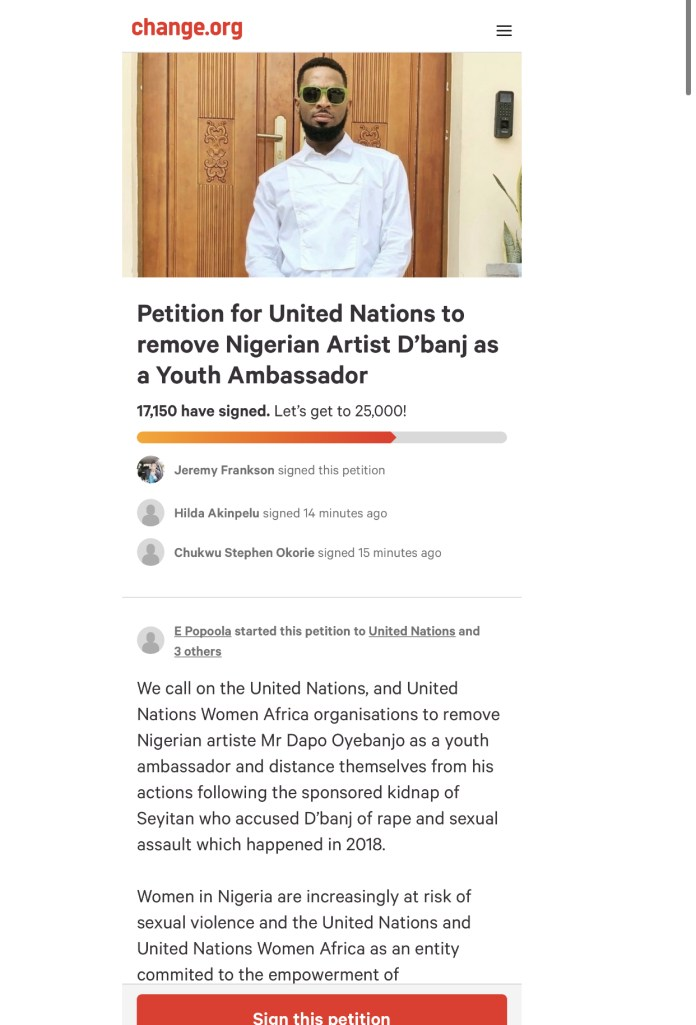 Screenshot of the petition
