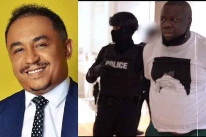 Collage photo of Daddy Freeze and Hushpuppi during arrest