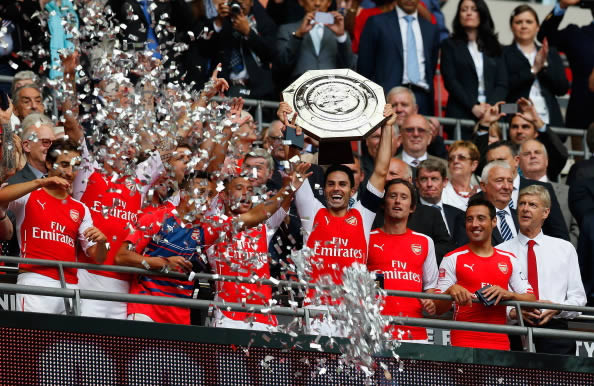 Mikel Arteta Lifts the Community Shield Earlier This Season after Victor Over Manchester City. Image: Getty.