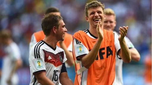 Thomas Mueller and Captain Philip Lahm Celebrates After Germany's Victory Over Portugal. Image: Getty.