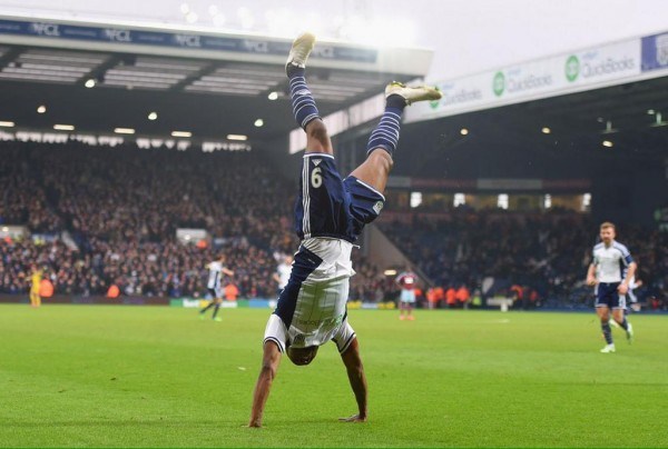 Brown Ideye Celebrates after Scoring a Brace against West Ham in an FA Cup Fifth Round Clash a the Hawthorns. Image: PA.