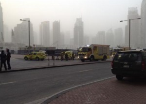 """Fire engines are seen after a fire broke out at """"The Torch"""", a residential high-rise tower, in Dubai"""