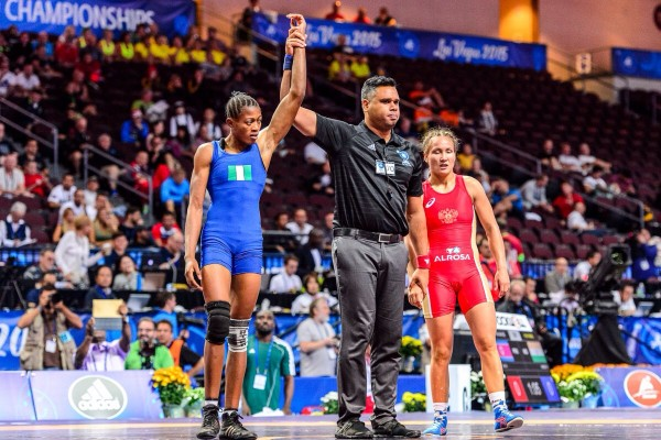 Nigeria's Adekuoroye defeated China's Zhong Xuechun to Win Bronze at the World Wrestling Championships. image: Martin Gabor/United World Wrestling.