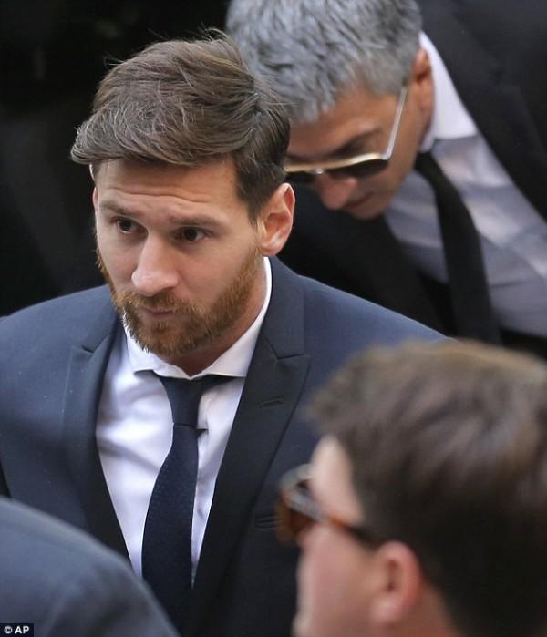Lionel Messi arrives in court. AP