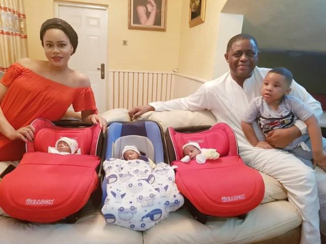 Femi Fani Kayode flaunts his triplets as they return from hospital (Photo) - Information Nigeria