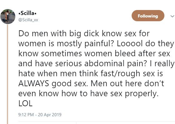 'Rough and fast sex is not good sex' - Nigerian lady says