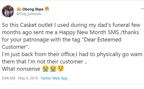 See how this Nigerian Man reacted to a message from a Coffin company