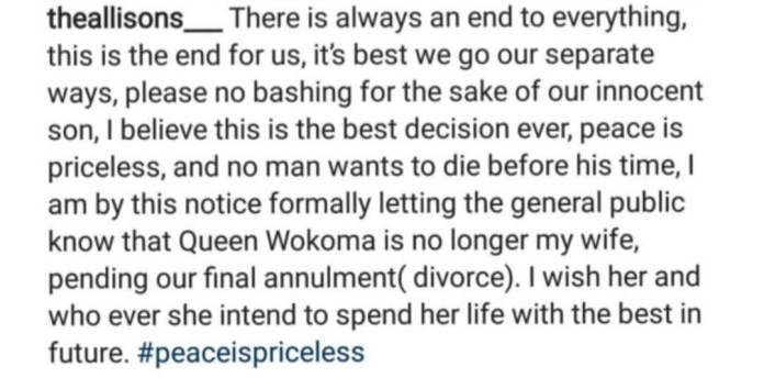 Nollywood actress Queen Wokoma's marriage has ended!