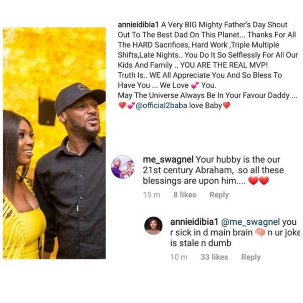'You are sick in the main brain' - Annie Idibia drags troll who came for her husband