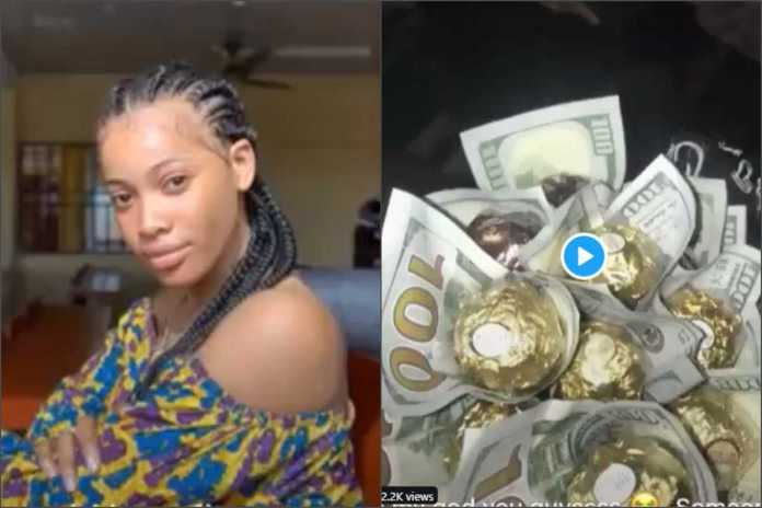[Video]: Unilag student gets a bouquet of dollar notes from admirer