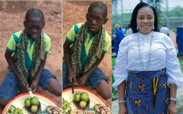 Young hawker and Tope Alabi
