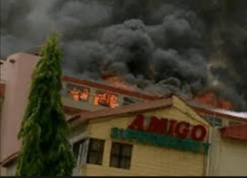 Amigo Super Market on fire
