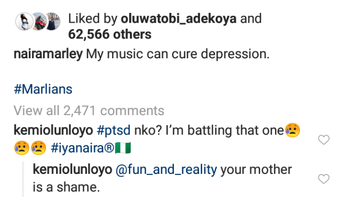 Naira Marley's comment section