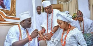Oba Adeyeye Enitan Ogunwusi, with wife, Olori Naomi