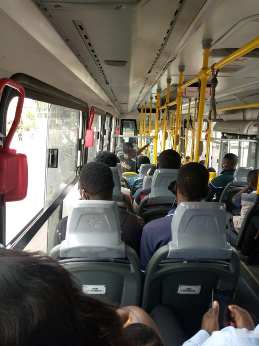 Zero physical distancing inside Lagos BRT on full load.