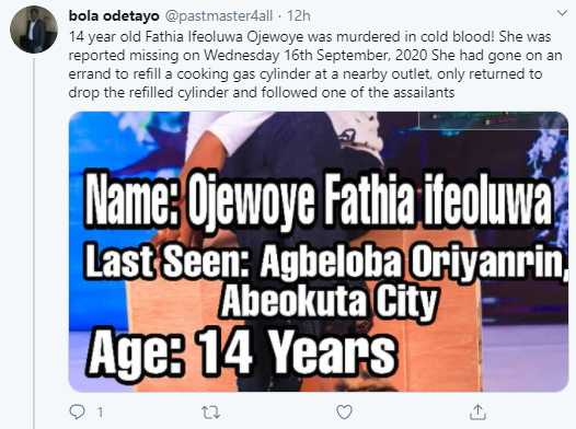 Missing 14-year-old girl found raped and murdered in Ogun 8