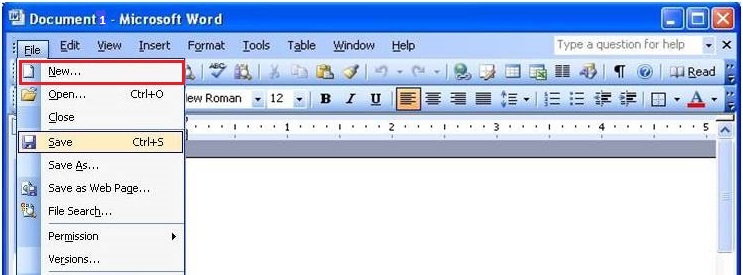 Image result for create document in ms word 2003