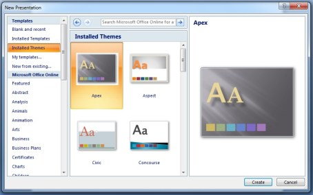 Microsoft Powerpoint Using Installed Themes