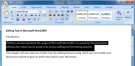 Editing Text in Microsoft Word 2007 To Select a Paragraph