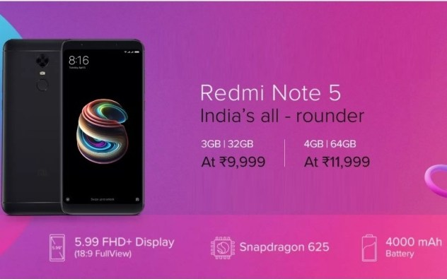 Redmi Note 5 (Black, 32 GB) (3& 4GB RAM)
