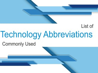 List of Technology Abbreviations Commonly Used