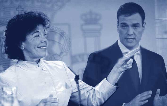El presidente en funciones P.Sánchez y la ministra en funciones del POSE que atacan abiertamente a la educación concertada