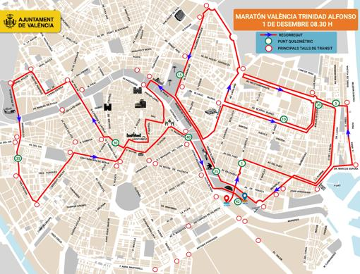 Recorrido Maratón Valencia/Img. FTA
