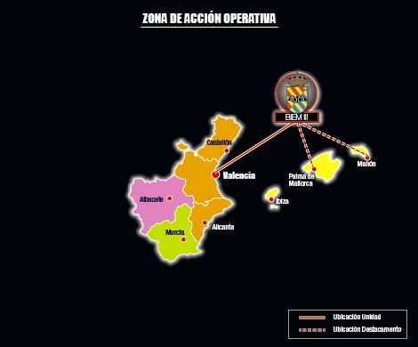 La zona de Acción Operativa del BIEM III abarca 6 provincias distribuidas por la Comunidad Valenciana,/Defensa.gob.es