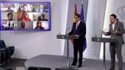 El ministro Illa e Iglesias duarnte la rueda de prensa sobre el desconfinamiento de los niños./informaValencia.com