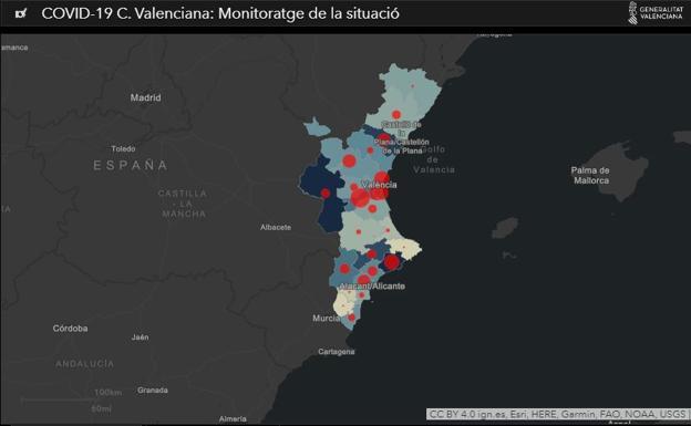 COVID 19, mapa de positivos, Generalitat Valenciana