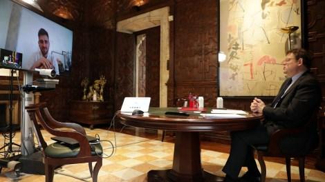 El presidente Puig rueda de prensa tras las reuniones mantenidas por videoconferencia con las síndicas y los síndicos de los grupos parlamentarios de Les Corts,/GVA