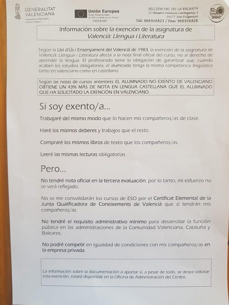 Documento de la Consellería que reciben las familias de la Vega Baja/HE