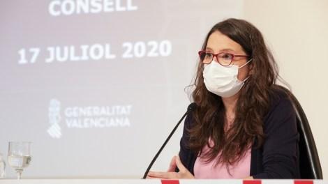 Mónica Oltra en su comparecencia después del Pleno del Consell/GVA