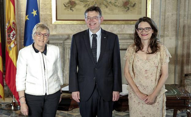 Ana Barceló, Ximo Puig y Mónica Oltra, responsables de la salud de los valencianos. Y valencianas. - GVA
