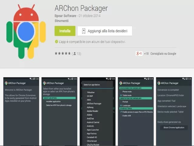 Chrome APK Packager ARChon Come trasformare app Android in estensioni Google Chrome