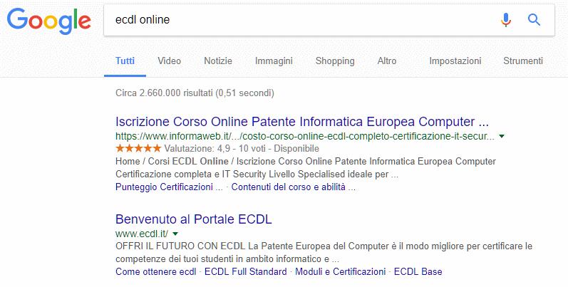 Corso ECDL Online InFormaWEB.IT primi su Google