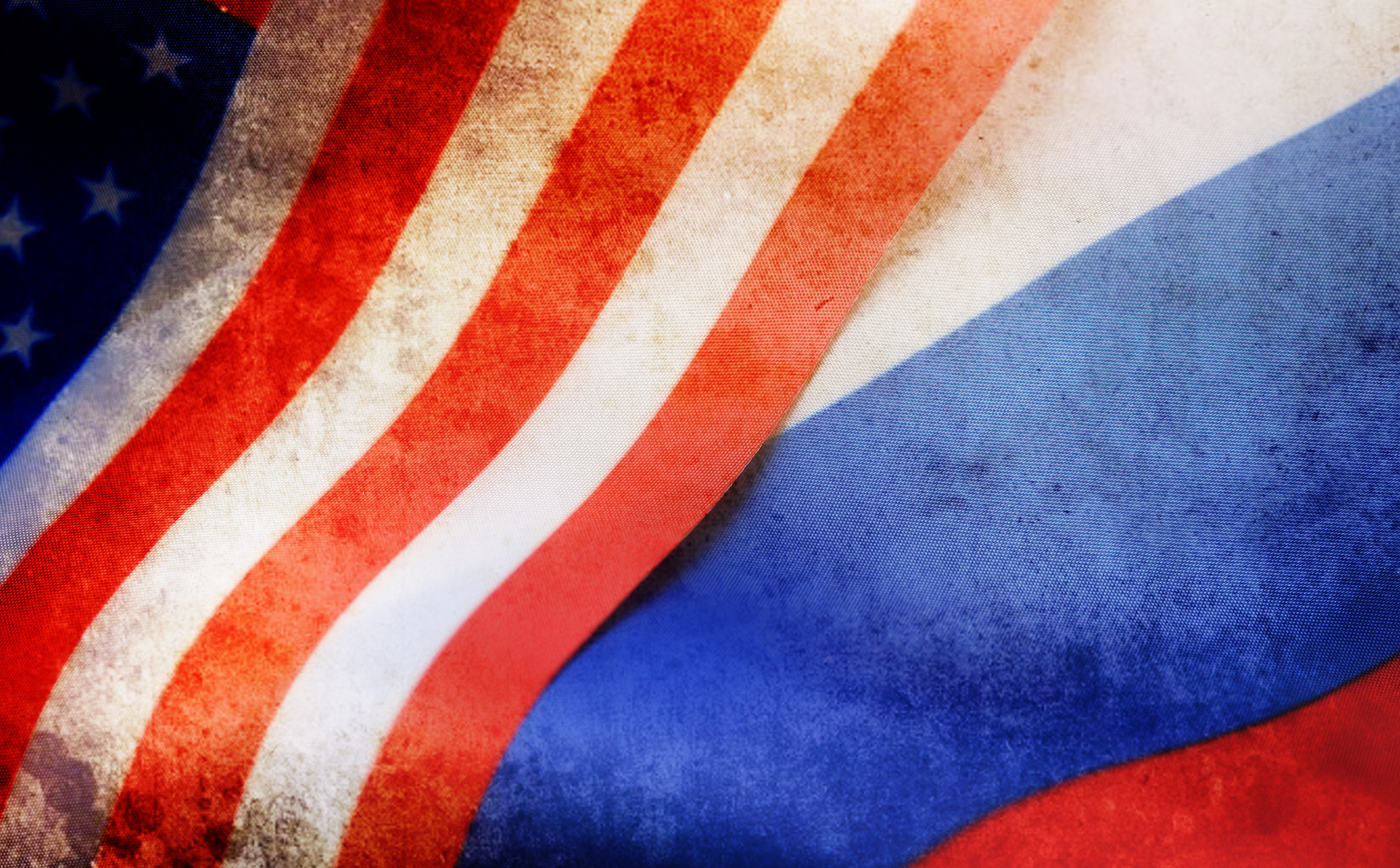 effect with scratches on photo russian and usa flag_1522071643636