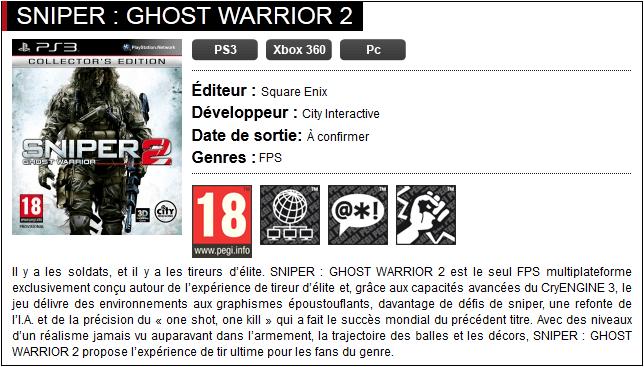 Présentation Sniper Ghost Warrior 2