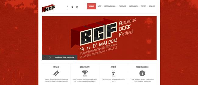 BGF - Bordeaux Geek Festival : Capture du site